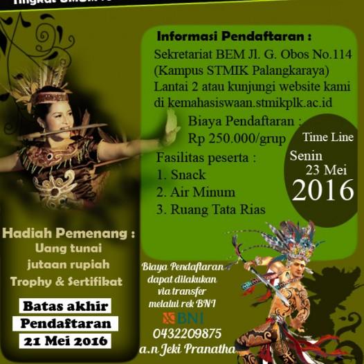 PENDAFTARAN Festival Band dan Lomba Tari Kreasi Tradisional STMIK Palangka Raya 2016 DIPERPANJANG