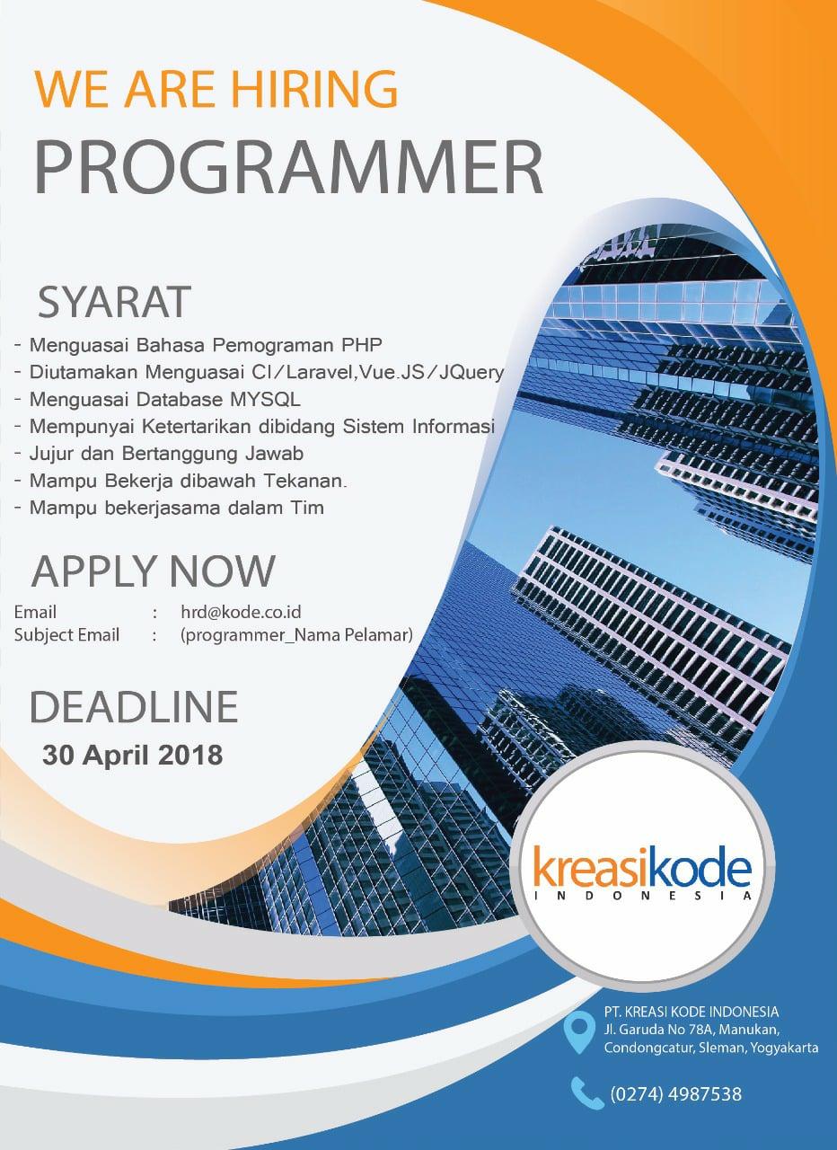 Dicari Programmer Kreasi Kode Indonesia